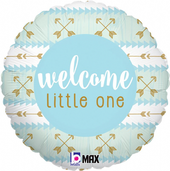 Welcome Little One Blue Foil Balloon